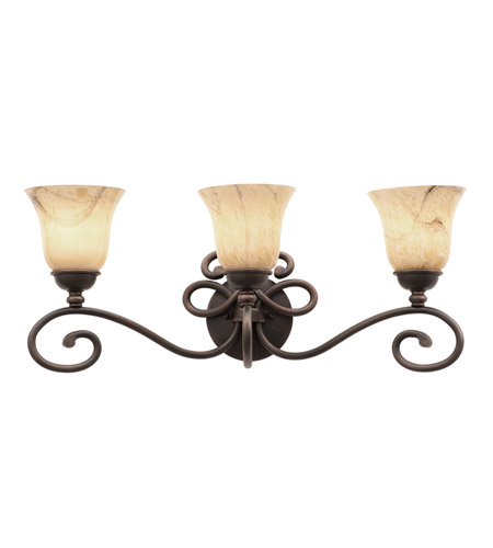 Kalco 5523AC/1239 Amelie 3 Light 26 inch Antique Copper Bath Light Wall Light in Neutral Swirl (1239) FALL CLEARANCE photo