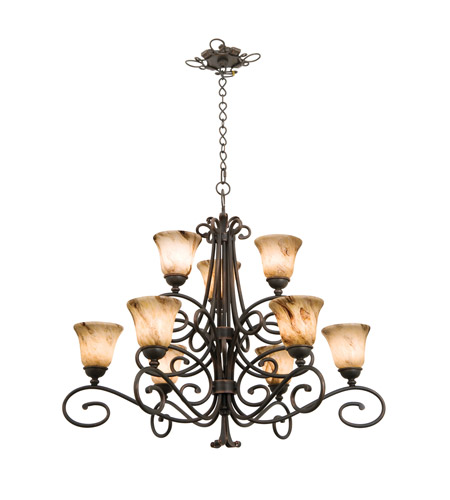 Kalco 5535AC/1239 Amelie 9 Light 39 inch Antique Copper Chandelier Ceiling Light in Neutral Swirl (1239) FALL CLEARANCE photo