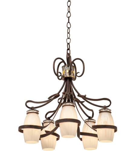Kalco 6022AC/PEARL Monaco 5 Light 28 inch Antique Copper Chandelier Ceiling Light in PEARL photo thumbnail