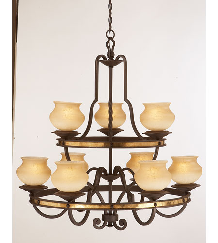Kalco Lighting Durango 9 Light Chandelier in Tawny Port 6109TP-2/LINEN photo