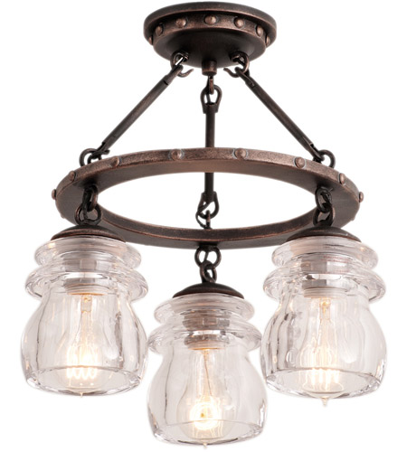 kalco 6318ac brierfield 3 light 14 inch antique copper semi flush mount ceiling light - Semi Flush Mount Lighting