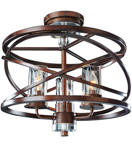 Kalco 6605EZ Eternity 3 Light 17 inch Etruscan Bronze Semi Flush Mount Ceiling Light photo thumbnail