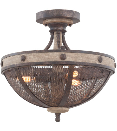 Kalco 7047FG Coronado 3 Light 16 inch Florence Gold Semi Flush Mount Ceiling Light photo thumbnail