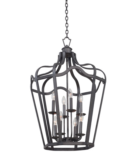 Kalco 7415cl livingston 8 light 30 inch charcoal hanging lantern ceiling light