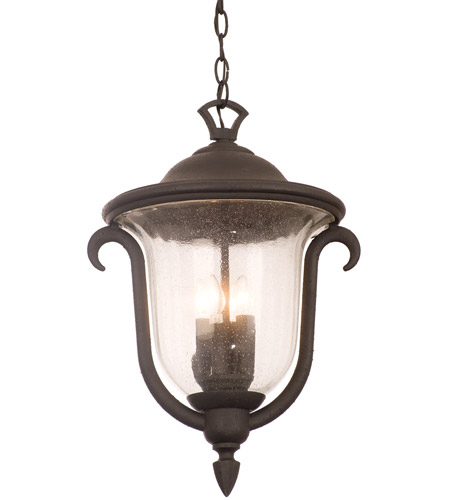 Kalco 9007mb santa barbara 3 light 13 inch textured matte black outdoor hanging lantern