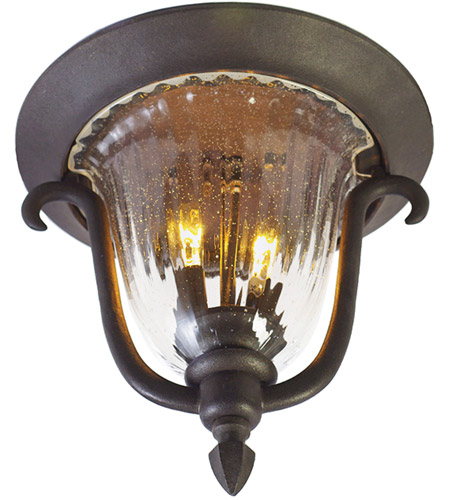 Kalco 9017MB Santa Barbara 2 Light 12 inch Textured Matte Black Outdoor Flush Mount photo