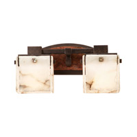 Bedford 2 Light 18 inch Sienna Bronze Wall Bracket Wall Light in Copper Patina, Alabaster