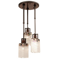 Bedford 3 Light 18 inch Antique Copper Foyer Pendant Ceiling Light in Iridescent Glass Panel (IRI), Copper Patina