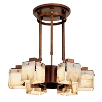 Kalco 2508-2AC/ALAB Bedford 6 Light 30 inch Antique Copper Chandelier Ceiling Light in Alabaster Solid Cherry