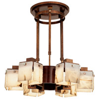 Bedford 6 Light 30 inch Antique Copper Chandelier Ceiling Light in Alabaster, Tuscan Gold, Solid Cherry