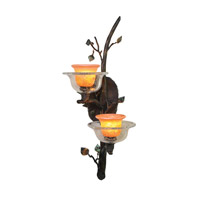 Cottonwood 2 Light 11 inch Sienna Bronze Wall Sconce Wall Light in Art Glass FALL CLEARANCE