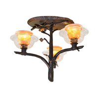 Cottonwood 3 Light 21 inch Sienna Bronze Semi Flush Ceiling Light in Art Glass FALL CLEARANCE