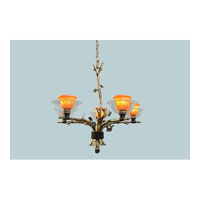 Cottonwood 5 Light 28 inch Aged Silver Chandelier Ceiling Light in Art Glass, Sienna Bronze FALL CLEARANCE