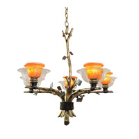 Cottonwood 5 Light 28 inch Aged Silver Chandelier Ceiling Light in Art Glass