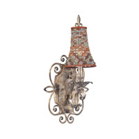 Chesapeake 1 Light 11 inch Sienna Bronze Bath Light Wall Light in Color Beaded Tapered (S292), Antique Silver Leaf FALL CLEARANCE