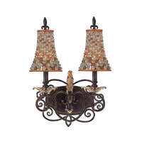 Chesapeake 2 Light 14 inch Sienna Bronze Bath Light Wall Light in Color Beaded Tapered (S292)
