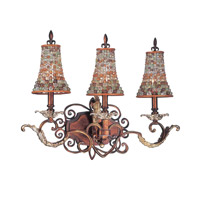 Chesapeake 3 Light 24 inch Sienna Bronze Bath Light Wall Light in Color Beaded Tapered (S292), Tuscan Gold