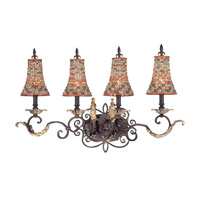 Chesapeake 4 Light 32 inch Sienna Bronze Bath Light Wall Light in Color Beaded Tapered (S292)