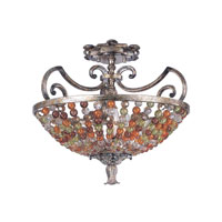 Kalco Lighting Chesapeake 3 Light Semi Flush Mount in Antique Silver Leaf 2565AF
