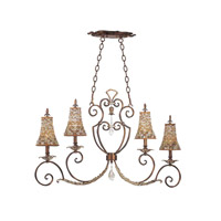 Chesapeake 4 Light 43 inch Sienna Bronze Island Light Ceiling Light in Tuscan Gold, Color Beaded Tapered (S292)