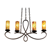 Grayson 4 Light 32 inch Saxon Gold Island Light Ceiling Light in Penshell Side Shade (PS22), Without Crystals, Hierloom Bronze