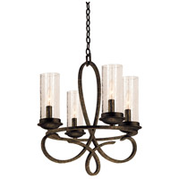 Kalco 2671HB/1100 Grayson 4 Light 18 inch Heirloom Bronze Chandelier Ceiling Light in Without Crystals, Hierloom Bronze, Seeded Side Glass (1100)