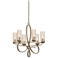 Kalco 2674HB/1100 Grayson 6 Light 25 inch Heirloom Bronze Chandelier Ceiling Light in Without Crystals, Hierloom Bronze, Seeded Side Glass (1100)