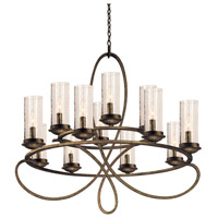 Kalco 2675HB/1100 Grayson 12 Light 32 inch Heirloom Bronze Chandelier Ceiling Light in Without Crystals, Hierloom Bronze, Seeded Side Glass (1100)