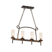 Bentham 4 Light 32 inch Heirloom Bronze Island Light Ceiling Light in Seeded Side Glass (1100), Natural Iron FALL CLEARANCE