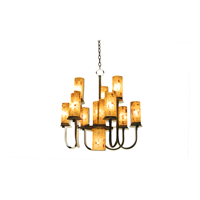 Kalco Lighting Bentham 11 Light Chandelier in Antique Copper with Penshell Shades 2720AC/PS22 photo thumbnail