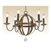Kalco Devon 6 Light Chandelier in Copper Claret 2765CC