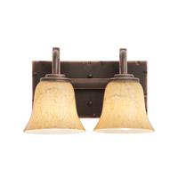 Penrith 2 Light 12 inch Antique Copper Bath Vanity Wall Light in Neutral Swirl (1239)
