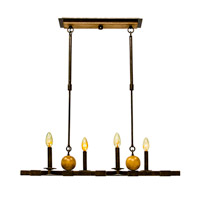 Kalco 2935FG Hampton 4 Light 32 inch Antique Copper Island Light Ceiling Light