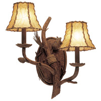 Kalco 3033PD/8045 Ponderosa 2 Light 16 inch Ponderosa Wall Sconce Wall Light in Without Glass Leather-wrapped