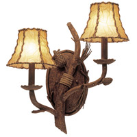 Ponderosa 2 Light 16 inch Sycamore Wall Bracket Wall Light in Without Glass, Leather-wrapped