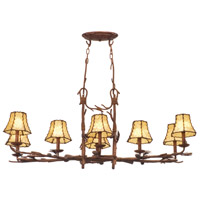 Ponderosa 8 Light 47 inch Sycamore Chandelier Ceiling Light in Without Glass, Leather-wrapped