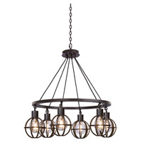 Kalco 305551TP Cape May 6 Light 30 inch Tawny Port Pendant Ceiling Light
