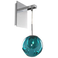 Chrome Handblown Glass Meteor Wall Sconces