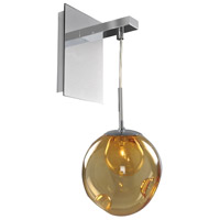 Kalco 309520CH/AMBER Meteor 1 Light 6 inch Chrome Wall Sconce Wall Light in Amber