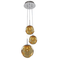 Kalco 309540CH/AMBER Meteor 3 Light 10 inch Chrome Pendant Ceiling Light in Amber