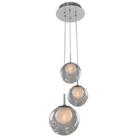 Meteor 3 Light 10 inch Chrome Pendant Ceiling Light in Clear