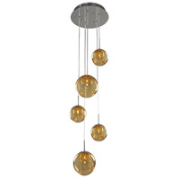 Kalco 309541CH/AMBER Meteor 5 Light 15 inch Chrome Pendant Ceiling Light in Amber