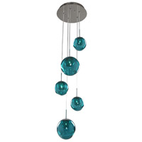 Kalco 309541CH/AQUA Meteor 5 Light 15 inch Chrome Pendant Ceiling Light in Aqua
