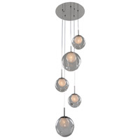 Kalco 309541CH/CLEAR Meteor 5 Light 15 inch Chrome Pendant Ceiling Light in Clear