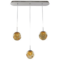 Kalco 309542CH/AMBER Meteor 3 Light 32 inch Chrome Island Ceiling Light in Amber