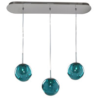 Kalco 309542CH/AQUA Meteor 3 Light 32 inch Chrome Island Ceiling Light in Aqua