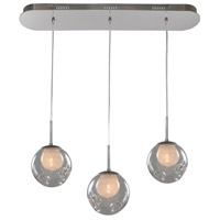 Kalco 309542CH/CLEAR Meteor 3 Light 32 inch Chrome Island Ceiling Light in Clear