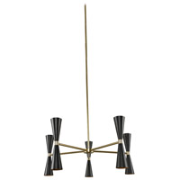 Kalco 310470BVB Milo LED 28 inch Black and Vintage Brass Chandelier Ceiling Light 5 Arm