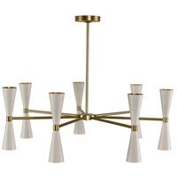Kalco 310471WVB Milo LED 35 inch White and Vintage Brass Chandelier Ceiling Light, 7 Arm