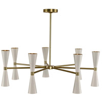 Kalco 310471WVB Milo LED 35 inch White and Vintage Brass Chandelier Ceiling Light 7 Arm